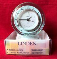 Vintage 1990s Jelli Linden Quartz Alarm Clock Round Translucent Spearmint Blue