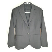 Theory Womens Solid Gray Wool Blend Blazer Suit Jacket Size 2 Formal Career