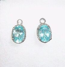 Paraiba Apatite and White Topaz Earrings; Post Fastener; Oval .5 ctw each