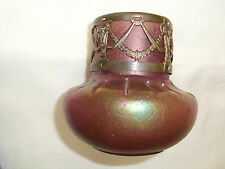 Jugendstilglasvase  mit Montur und Goldlüster, sehr schönes Original um 1900 !!