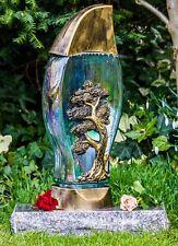 Grablicht 40cm + Kerze Grablaterne Grableuchte Glas Grabschmuck Garten Bronze 03