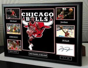 "Michael Jordan Chicago Bulls Framed Tribute Canvas Print Signed ""Great Gift"""