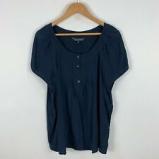 Sportscraft Silk Shirt Top Womens 18 Blue Short Sleeve Round Neck
