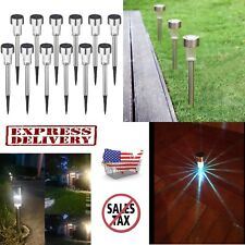 12 pcs Outdoor Garden LED Solar Landscape Path Lights Yard Lamp Stainless Steel