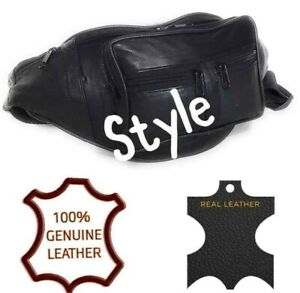 Real Leather Bum Bag Big Black Money Waist Belt Fanny Pack Holiday Work Pouch
