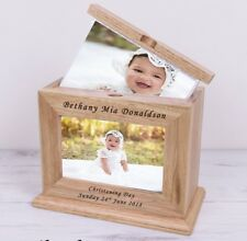 Personalised 6x4 Photo Wooden Album Book With Sleeves Unisex Baby Christening