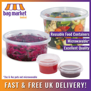 Clear Round Microwavable Food Containers & Lids | Plastic/Pot/Tub/Deli/Takeaway