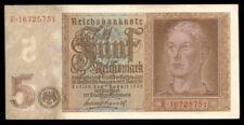 riotis 4588: WATERMARK 5 REVERSE GERMANY 5 REICHSMARK 1942 GEM UNC , P-186b