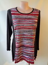 EVERSUN size 10 New Black red white camel top  NWT long sleeves