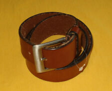 Madewell Brown Leather Belt e2215 Square Brass Buckle S M