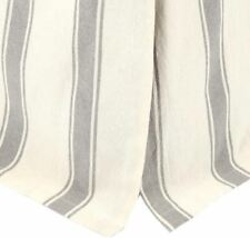 Twin Bed Skirt Nickel Gray & Tan Grain Sack Ticking Stripe Flat Panel Grace