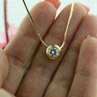 1.00 Ct Round Cut D/VVS1 Solitaire Pendant Necklace 14K Yellow Gold Over
