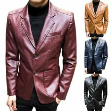 Men's Slim Faux Leather Lapel Jackets Patent Single-Breasted Casual Blazer Coats
