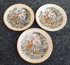 SET of 3 Vintage G.E.C Classic Art Print Saucer Plates Made in Occupied Japan