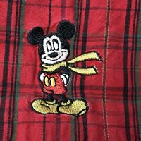 Disney Store Mens Shirt XXL Embroidered Mickey Mouse Plaid Long Sleeve Red
