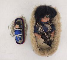 Pair Unique Home Dressed Native American (Leopard Prints?) Porcelain Dolls Great