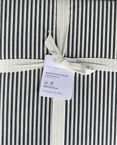 "Pottery Barn Wheaton Stripe  Shower Curtain 72""sq In Navy"