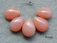 Natural Pink Opal Smooth Pear Briolette Semi Precious Gemstone Beads 005