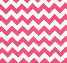 PINK AND WHITE CHEVRON COTTON FABRIC BTY