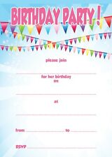 Childrens Birthday Invites x 20 +envs - Bunting Bright Kids Write your own