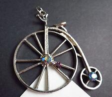 Vintage Bycicle silver tone AB rhinestone large CHARM Pendant