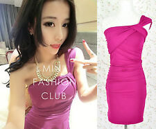 ♡IT♡ Ox Red Magenta Violet Ruching Bodycon One Shoulder Dress Top Sexy Evening