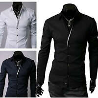 ST90 New Mens Luxury Casual Slim Fit Stylish Dress Shirts 3 Colors 4 Size