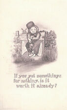 Boy Leaning On Fence  Sepia Wooden Shoe No 408  Unused  Postcard 5103