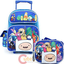 """Adventure Time 16"""" Large School Roller Backpack with Lunch Bag Set- New Friends"""