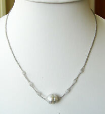 18ct SOLID WHITE GOLD NECKLACE+12.6mm! WHITE SOUTH SEA 100% UNTREATED PEARL+CERT