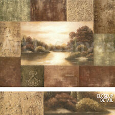 """40""""x30"""" MODULATE I by BETSY BROWN ART DECO LANDSCAPE COLLAGE EARTHTONES CANVAS"""