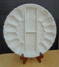 Vintage L. E. SMITH HERITAGE MILK GLASS DEVILED EGG PLATE Relish Plate Nice!!