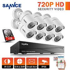 SANNCE HD 5in1 8CH 1080N DVR IR Night Vision Home Surveillance Camera System 1TB