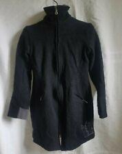 Ladies Ibex Size S Black Merino Wool Jacket Embroidered Birds Trees Silk Lined