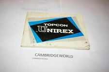 Topcon Unirex Slr Camera Instruction Manual Guide Book Original Genuine