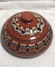 Bulgarian Pottery Blue Troyan Terra-cotta Flat Candy Dish Brown Hand Made Monks