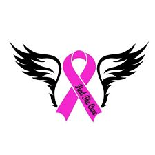 Breast Cancer With Black Angels Wings Cure Auto Car Decal Sticker Vinyl Graphic