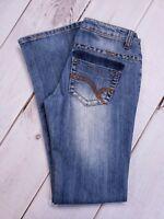 Vanilla Star Flare Jeans Size 3 X 31 Stretch Distressed Faded Blue Denim Womens