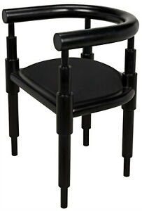 """24"""" W Set of 2 Mindy Occasional Chair Modern Contemporary Black Solid Wood"""