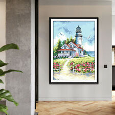 Sea Lighthouse Stamped Cross Stitch Starter Kits Accurate Pre-printed 14CT