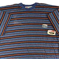 VTG 90s Quicksilver Yarn Dye Striped Tee T-Shirt Mens XL X-Large Surf Skate NWT