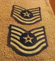 US    AIR FORCE STRIPES   T  SGT  PAIR  ( L# Z1)   **HOLIDAY PRICED**