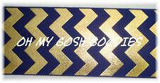 2 1/4 NAVY GOLD FOIL CHEVRON BLING GROSGRAIN RIBBON TEAM CHEER 4 HAIRBOW BOW