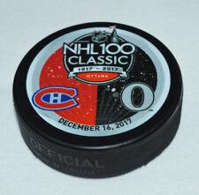 2017 NHL 100 CLASSIC Montreal Canadiens Ottawa Senators DUELING LOGO PUCK NHL100