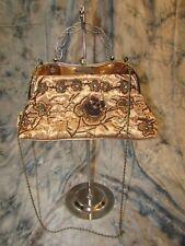 VINTAGE Gold Silk With Sequins and Beading Metal & Chain Handle Handbag EUC