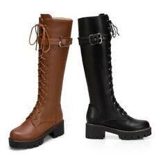 Fashion Women Ladies Buckle Chunky Non-slip Heel Mid Calf Knee Riding Boots D