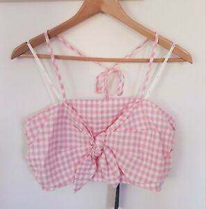 NWT Anthropologie J.O.A. Pink Gingham Bow Crop Tie Halter Top, Size Medium, $78