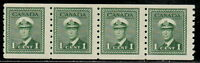 Canada #263 1¢ King George VI War Issue Coil Strip of Four MNH