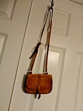 Vintage 1980 Hand Tooled Genuine Leather Cross Body Purse Shoulder Bag Sweden