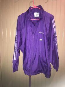 Vintage Adidas Purple Zip Up Distressed Track Jacket Size M